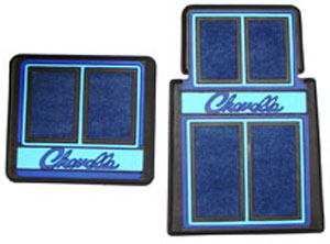 FLOOR MATS, CHEVELLE WITH SCRIPT LETTERING 4PC