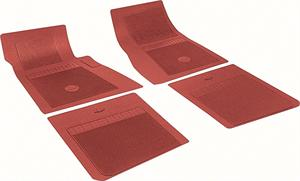 FLOOR MATS, 64-72 CHEVELLE ORIGINAL STYLE RUBBER WITH BOW TIE 4PC