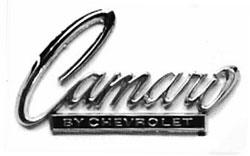 EMBLEM, 68-69 CAMARO BY CHEVROLET REAR - REPRO